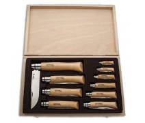 Набор Opinel в деревянной коробке с крышкой из 10 ножей